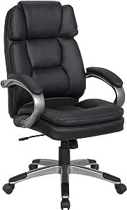 LCH 符合人体工程学的 PU 皮革办公椅,双衬垫座椅和加厚头枕设计,适用于腰部支撑