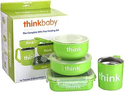 Thinkbaby 辛克宝贝儿童不绣钢餐具套装四件套-苹果绿(美国品牌 保税区发货)