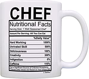 Chef Gear Chef Nutritional Facts 标签恶作剧礼物咖啡杯茶杯 白色 COMINHKG077128