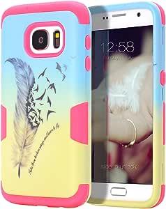 tianli ( TM ) SAMSUNG GALAXY S7手机壳,双层混合防护手机壳和耐冲击 SILICON 硬质手机壳适用于 Samsung Galaxy S7, Feather Hot Pink