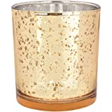 Just Artifacts 水星玻璃烛台 10.16 厘米光谱金-水银玻璃烛台 婚礼和家庭装饰用水银玻璃烛台 - 变体 金色 M-MGV040001-12