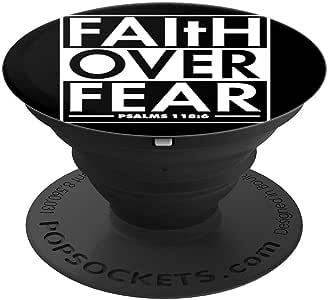 基督教礼物 Faith Over Fear PopSockets 手机和平板电脑握架260027  黑色