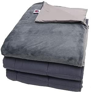 """优质加重毛毯 带可拆卸羽绒被套 适合有压力和*的儿童 Grey Minky Size 60"""" x 80"""" - 25 Lbs"""