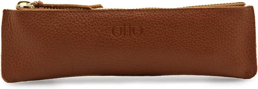 Otto Angelino 拉链真皮笔和铅笔盒(浅棕色)