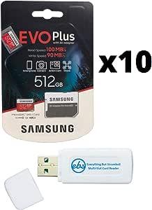 Samsung 三星 512GB Evo Plus 微型 SD卡(10 包 EVO + 套装)Class 10 SDXC 内存卡带适配器(MB-MC512G)带(1)Everything But Stromboli Micro & SD 读卡器