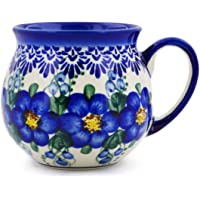 Polish Pottery 325ml 泡泡杯(蓝色野花主题)UNIKAT 签名+防伪证书