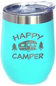 Happy Camper 带滑盖酒杯 - 无柄不锈钢保温杯 - 可爱的户外露营杯 蓝*