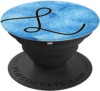 黑色图案首字母 L 蓝色海洋水彩 PopSockets 手机和平板电脑握架260027  黑色