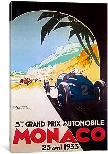 iCanvasART VAC238-1PC3-12x8 Grandprix Automobile Monaco 1933 Canvas Print by Vintage Apple Collection, 12 by 8-Inch, 0.75-Inch Deep