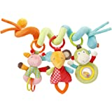 Fehn 074451 婴儿挂饰 可活动弹簧状 缤纷动物园 - 织物弹簧状玩具用于练习宝宝抓握和感知力 适用于婴儿床,婴儿车和婴儿围栏 - 适合0个月以上的婴幼儿 - 尺寸: 30cm长