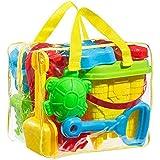 FoxPrint 沙滩沙玩具套装模型和模具桶、铲子、湖泊和可重复使用的拉链袋等。 将让您的孩子充满活力,颜色可能有所不同。