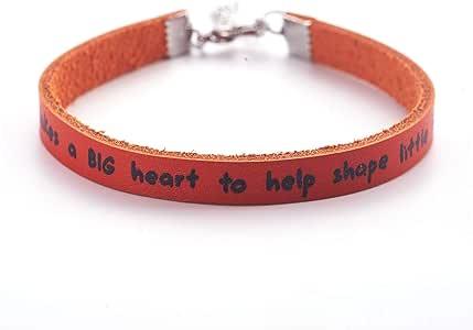 Melix Home Teacher 礼品皮革手链 It Takes a Big Heart to Help Shaped Little Minds Teachers 感谢学生礼物