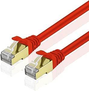 TNP 产品 TNP Cat6 以太网接插线 - 专业镀金无障碍 RJ45 连接器计算机网络线插头高级屏蔽双绞线CBL_CAT6_RED_3FT 3FT