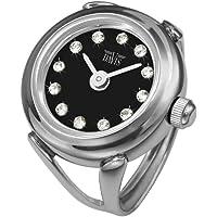 Davis 4173 - 女士手指戒指手表 黑色表盘施华洛世奇水晶水钻 蓝宝石玻璃可调节