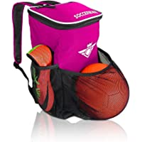 足球背包带球夹隔层 - 适合儿童青少年男孩和女孩 包适合所有足球设备和健身房装备(黑色)