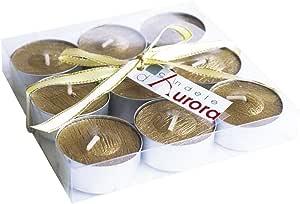 Aurora Candle of Aurora 套装9件,蜡茶灯,金色,11.6 x 11.6 x 2.2 厘米