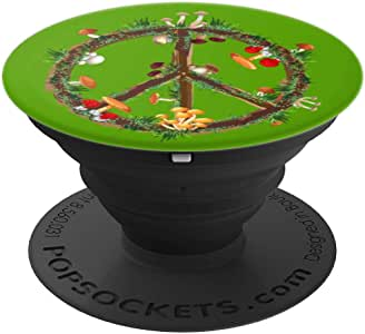 迷幻魔幻蘑菇和平标志 70 年代*手机支架 PopSockets 手机支架支架支架适用于手机和平板电脑260027  黑色