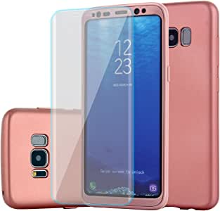 三星 Galaxy S8 手机壳超薄全机身保护硬质 PC + TPU 手机壳 360 全圆形防滑防震混合手机壳带柔软高清屏幕保护膜作为Galaxy S8 的礼物 玫瑰红