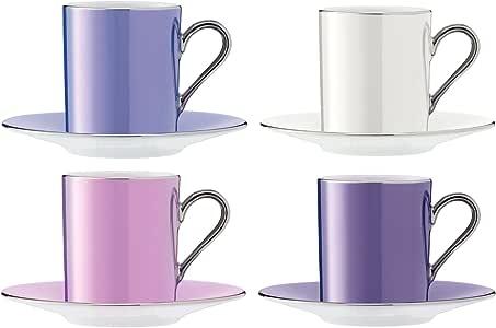 LSA International 波尔卡系列 咖啡杯及托碟 0.1L,单色(4件)