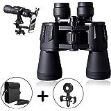 20x50 高清双筒望远镜专业防水望远镜弱光夜视清晰鸟观看和人声音乐音乐会旅游狩猎和手机支架 20 * 50 Binoculars