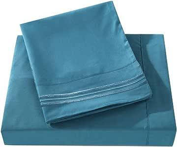 Do&Get Home 系列 3 线刺绣床单套装,双重磨毛超细纤维,豪华柔软,丝滑触感,无皱,不褪色,深口袋 蓝色帽 全部