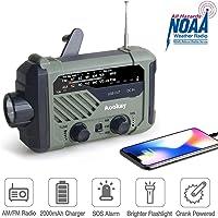 应急收音机,Aookay 2000mAh 手动曲柄太阳能天气收音机,便携式 AM / FM / NOAA 天气收音机,带…