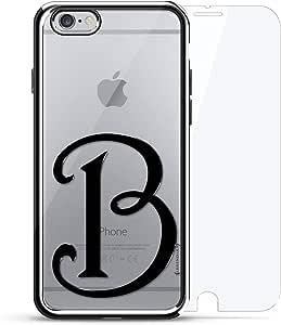 奢华镀铬系列 360 套装:设计师手机壳 + 钢化玻璃 适用于 iPhone 6/6s 银色LUX-I6CRM360-INITIALB2 BLACK INITIAL B2 银色