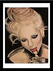 Buyartforless 带框血腥唇 Ed Capeau 艺术绘画复制品 黑色 16.5x13.5 IF EDC374 14x11 1.25 Black