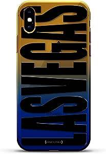 奢华设计师,3D 印花,时尚,高端,高端,Chameleon 变色效果手机壳 iPhone Xs MaxLUX-IMXCRM2B-VEGAS2 Bold black Las Vegas Dusk Blue