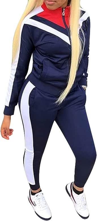 2 件套女式运动服条纹拉链夹克 + 运动裤运动套装 *蓝 1 X-Large