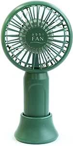 abbi Fan mini 超小型便携式风扇 Dark Green (维利昂 迷你 深*) *大10小时 超轻78克 超迷你便携式风扇 USB充电式 带挂绳 桌面支架 3档风 免提风扇 静音 AB18620 【日本正规代理店商品】