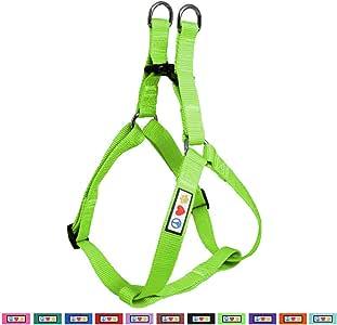 Pawtitas 宠物可调节纯色步入小狗/狗背带 6 英尺配套项圈和背带单独出售 绿色 中