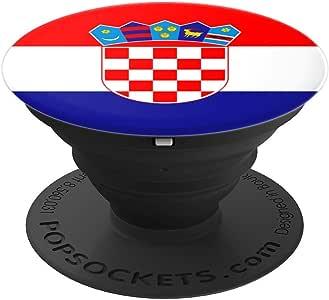 克罗地亚国旗 - PopSockets 手机和平板电脑抓握支架260027  黑色