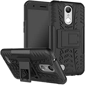 LG K20 Plus 手机壳,LG K20 V 手机壳,LG K10 2017 手机壳,Skmy 防震冲击保护坚固耐用双层保护壳带支架适用于 LG K20 Plus/LG V5 / LG Grace/LG HarmonyLG K20 Plus 黑色