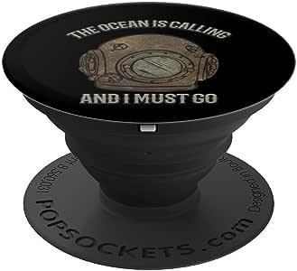复古趣味水肺潜水迷水生生日礼物 PopSockets 手机和平板电脑握架260027  黑色