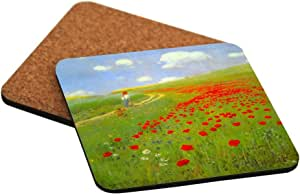 """Rikki Knight """"Pal Szinyei Merse Art Field of Poppies Design"""" Square Beer Coasters"""