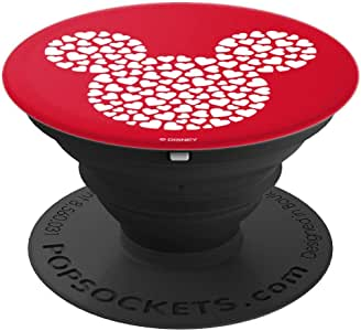 Disney 米老鼠图标装满红色波特套筒上的心形图案和支架,适用于手机和平板电脑260027  黑色