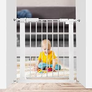 """WAOWAO 窄门 婴儿门 易走 压力安装 自动关闭 白色金属 儿童狗 宠物 *门 楼梯 门道 厨房和客厅 24.02-27.95 英寸 24.02""""-27.95"""""""