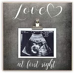 Paishanas Love at First Sight 婴儿相框   超声波相框   怀孕公布   性别显示   深灰色   20.32 x 20.32 厘米   声波相框
