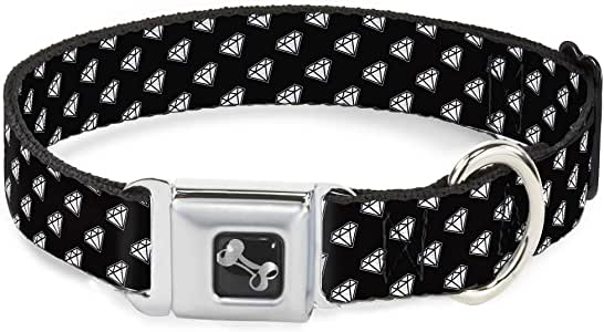 shine 明亮白色钻石全身 ON black 趣味动物*带宠物项圈 五彩 Wide Small