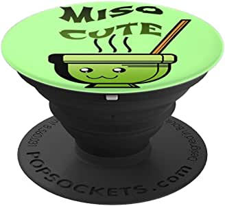 Green Miso 可爱日本汤 – PopSockets 手机和平板电脑握架260027  黑色