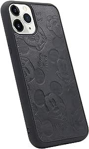 MC 时尚可爱卡通米老鼠纯色 PU 皮皮软质 TPU 手机壳适用于苹果 iPhone 11 Pro Max iPhone 11 黑色