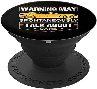 Warning May Spontaneously Start Talking About Cars Salesman PopSockets 手机和平板电脑握把和支架260027  黑色