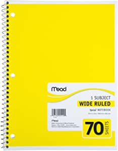 Mead Spiral Notebook, 1-Subject, 70-Count, Wide Rule