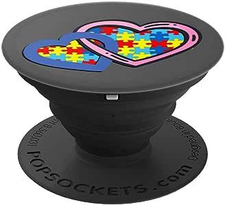 Autism Awareness 拼图心形 - PopSockets 手机和平板电脑握架260027  黑色