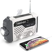 应急收音机,dodocool NOAA天气收音机,飓风用品,手摇发电机,电池供电,太阳能生存收音机,带AM/FM,LED…