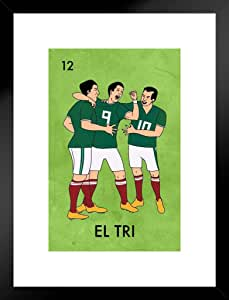 El Tri Mexico 足球 Futbol 墨西哥彩纸模仿海报 - 30.48x45.72 Multi-color / 12900 Framed Matted in Black Wood 20x26 inch 503319