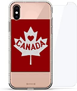豪华设计师,3D 印花,时尚气袋垫,360 度玻璃保护套装手机壳 iPhoneLUX-IXAIR360-CANADA1 Canadian Flag 透明