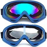 Peicees 4 件装滑雪护目镜冬季滑雪可调紫外线 400 保护摩托车雪地护目镜户外运动战术眼镜防尘*太阳镜儿童男孩女孩青年男女款