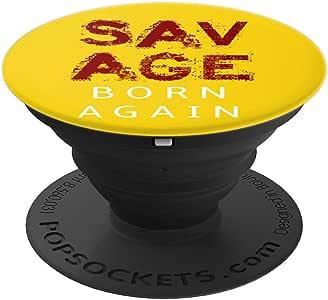 Savage Born Again 印*安人 PopSockets 手机和平板电脑握架260027  黑色